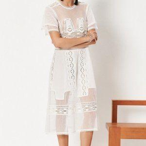 Tularosa Neil Dress Cloud White Crochet Midi Dress